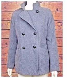 Gray Pea Coat BR Double Breasted Wool Blend